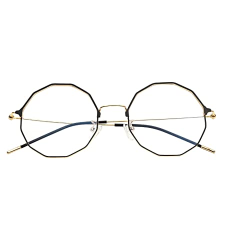 cad485ecf7 eyeooqz Modern Geometric Metal Alloy Optical Frames Clear Lens Hexagonal  Rx-able Eyewear (Geometric black) at Amazon Women s Clothing store