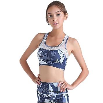 Comfort Bra Mujeres Niñas Sujetador Deportivo Costuras de Malla Print Sports Underwear Humedad Absorbente para Mujeres Adultas Sujetador Sleep In Yoga: ...