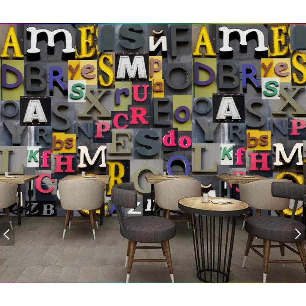 BIZHIGE 3D Murals European Melt Carattere Inglese Wallpaper per Bar Coffee Shop Ristorante Decorazione della Parete di Grandi Dimensioni Decorazione della Parete Murale-140 × 70Cm