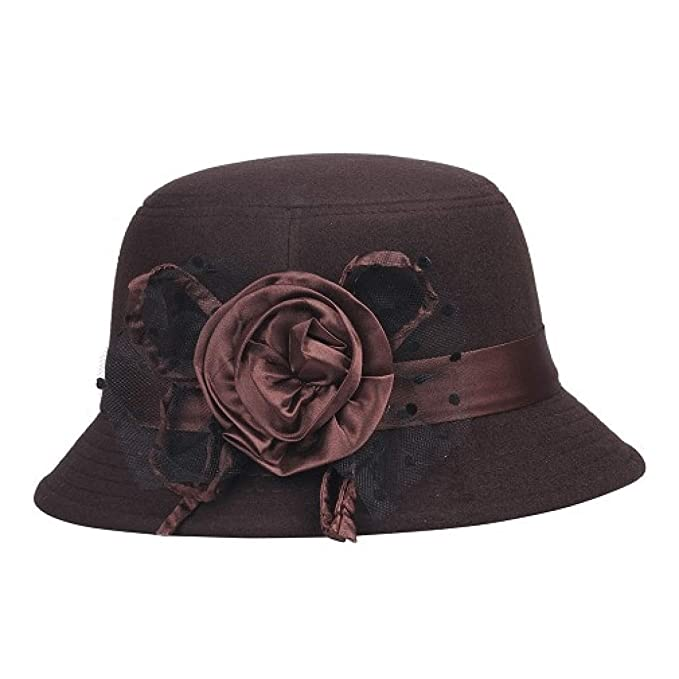 85a5130504b Fedora Hats for Women Wool Felt Bowler Floral Fedora Hat Autumn Winter  Bucket Caps for Woman Brown at Amazon Women s Clothing store