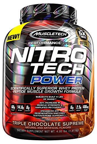 MuscleTech Nitro Tech Power poudre, formule de croissance musculaire Superior Whey protéine Peptide, Triple chocolat suprême, 4 lbs (1,81 kg)