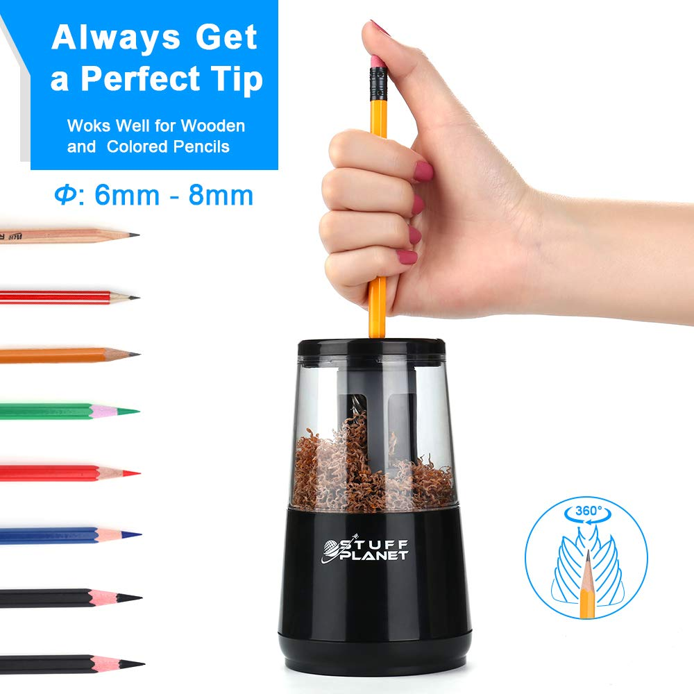 Stuff Planet Electric Pencil Sharpener,Heavy Duty Helical Blade,for School Classroom Office Home Kids Artists,AC Powered/USB/Battery Operated with Auto Stop Feature for No.2 and Colored Pencils(Black) by Stuff Planet (Image #4)