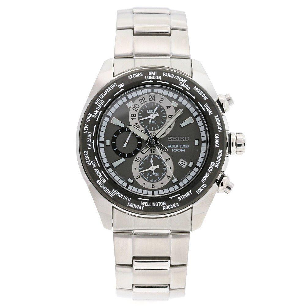 Seiko Men s SPL035 Criteria Stainless Steel Chronograph Grey Dial Watch