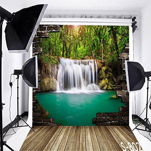 Laeacco 3x5ft Vinyl Photography Backdrop Wall Floor and 3D Brick Wall with Nature Waterfall Scenery 1x1.5m Photo Background Studio Props