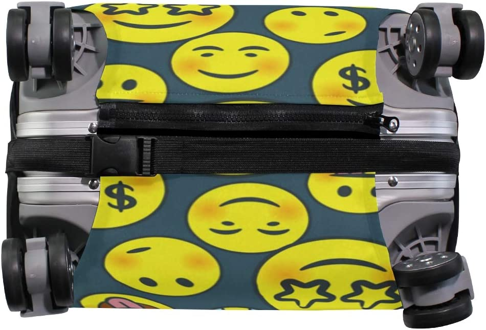 FOLPPLY Funny Emoji Smile Cry Pattern Luggage Cover Baggage Suitcase Travel Protector Fit for 18-32 Inch