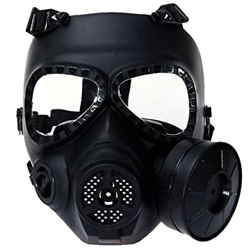 M04 Airsoft Paintball Mask, Protective Full Face Gas Mask Fan with filter CS Mask Dust