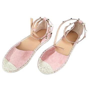 Calzado Chancletas Tacones Sandalias de Vendaje Mujeres Round Flat Zapatos Casuales Zapatos Decorativos Remache ❤ Manadlian: Amazon.es: Deportes y aire ...