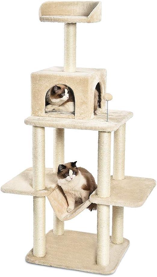AmazonBasics - Árbol con varios niveles, hamaca y cueva para gatos, 55,9x48,3x149,9 cm, beige: Amazon.es: Productos para mascotas