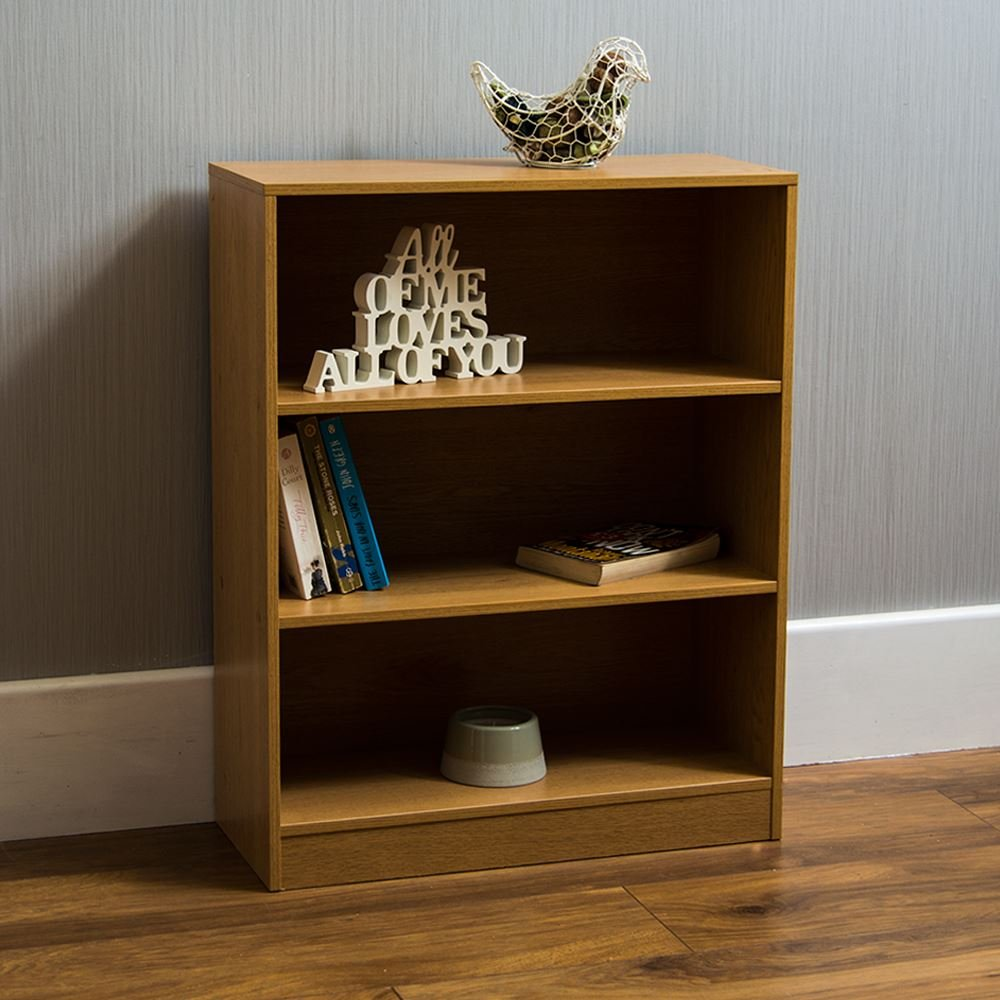 Home Discount Cambridge 3 Tier Low Bookcase, Oak Wooden Shelving Display Storage Unit Office Living Room Furniture