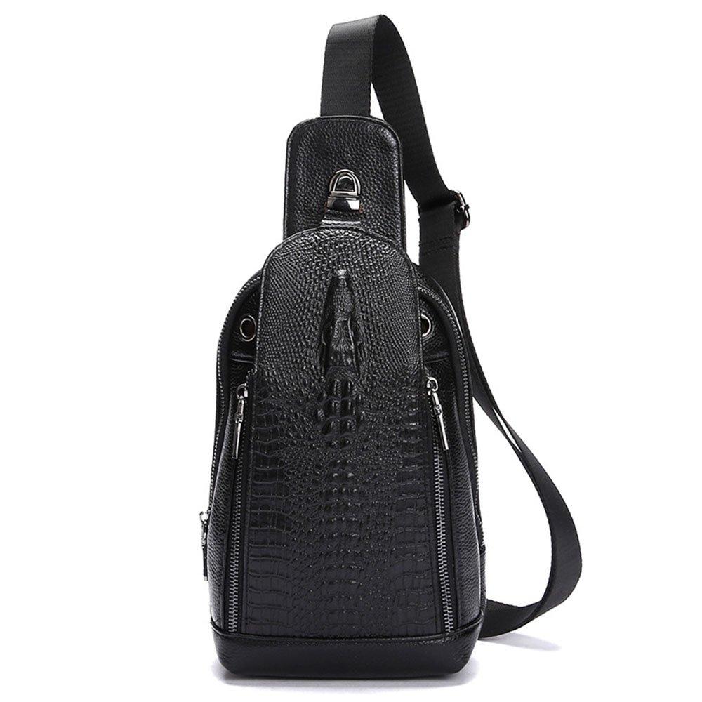 ybriefbagアウトドアスポーツ本革メンズショルダーバッグクロスボディバッグクロコダイルパターン胸バッグレジャービジネススポーツ旅行バッグChest Pack Daypack B07G5JRGRZ