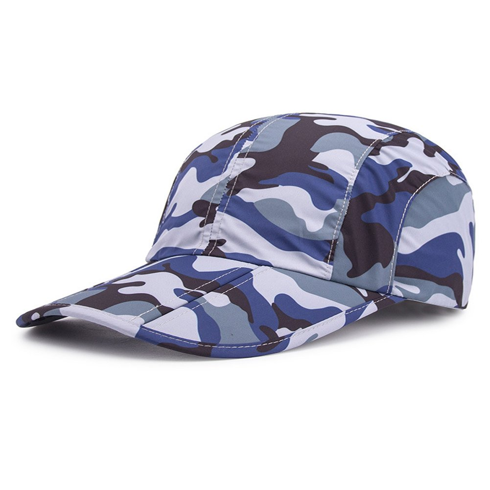 Welegant Baseball Cap Quick Dry Breathable Travel Hats [Foldable] Unisex Outdoor Sun Hat for Sports Golf Running Fishing Outdoor Research for Women Men (Camo Blue)