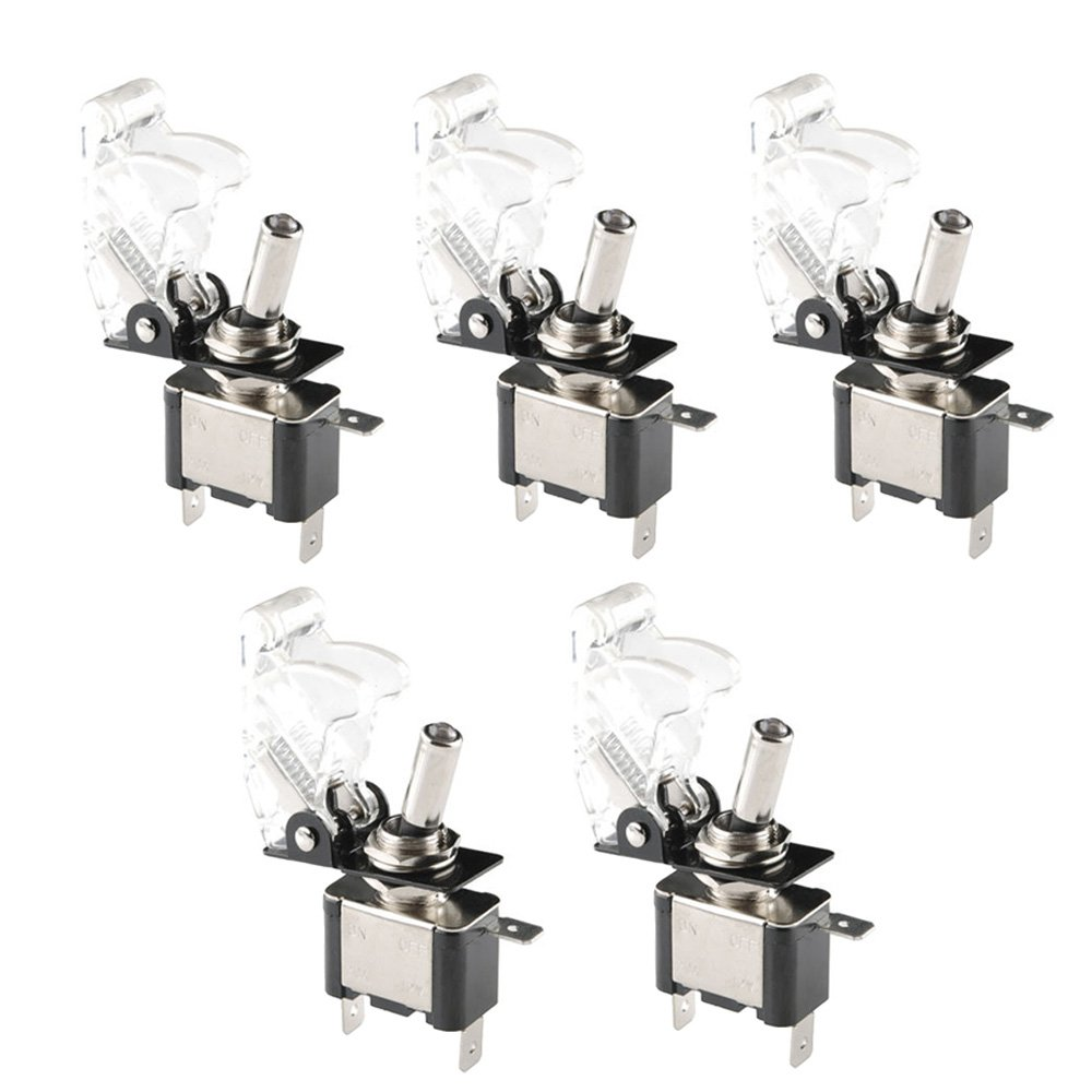 ESUPPORT Car Green Cover Green LED Toggle Switch Pack of 5