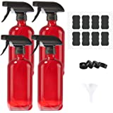 AMYHOM Empty Refillable Red Glass Spray Bottles of 4 Pack 16 oz for Essential Oil, Aromatherapy, Cleaning Products, Perfume,Alcohol Sterilizer, with 4 Free Sprayers, 4 Caps