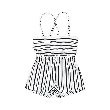 985c6386a87 Huabfeil Toddler Baby Kids Girls Striped Backless Romper Shorts Jumpsuit  Sunsuit Dress Off Shoulder Bodysuit White