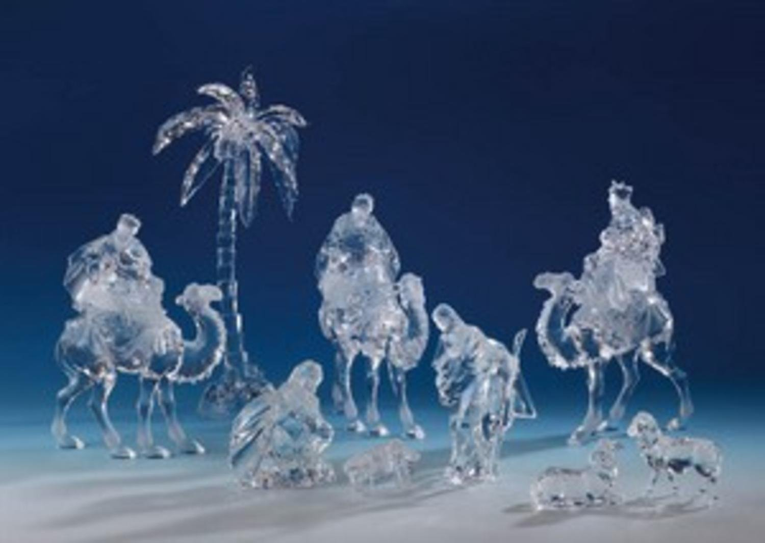 9 Piece Icy Crystal Religious Christmas Nativity Set