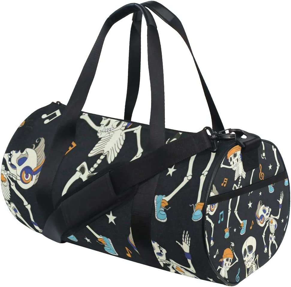 Duffel Bags Vintage Happy Halloween Skull Skeleton Womens Gym Yoga Bag Small Fun Sports Bag for Men