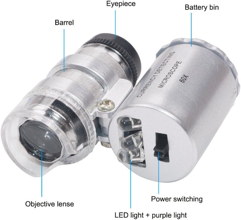 Mini 60 x microscopio LED joyer/ía lupa UV detector de moneda port/átil lupa lupa lente ojo de cristal con luz LED