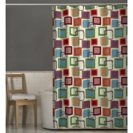 Amazon Hometrends Squares Fabric Printed Shower Curtain Home