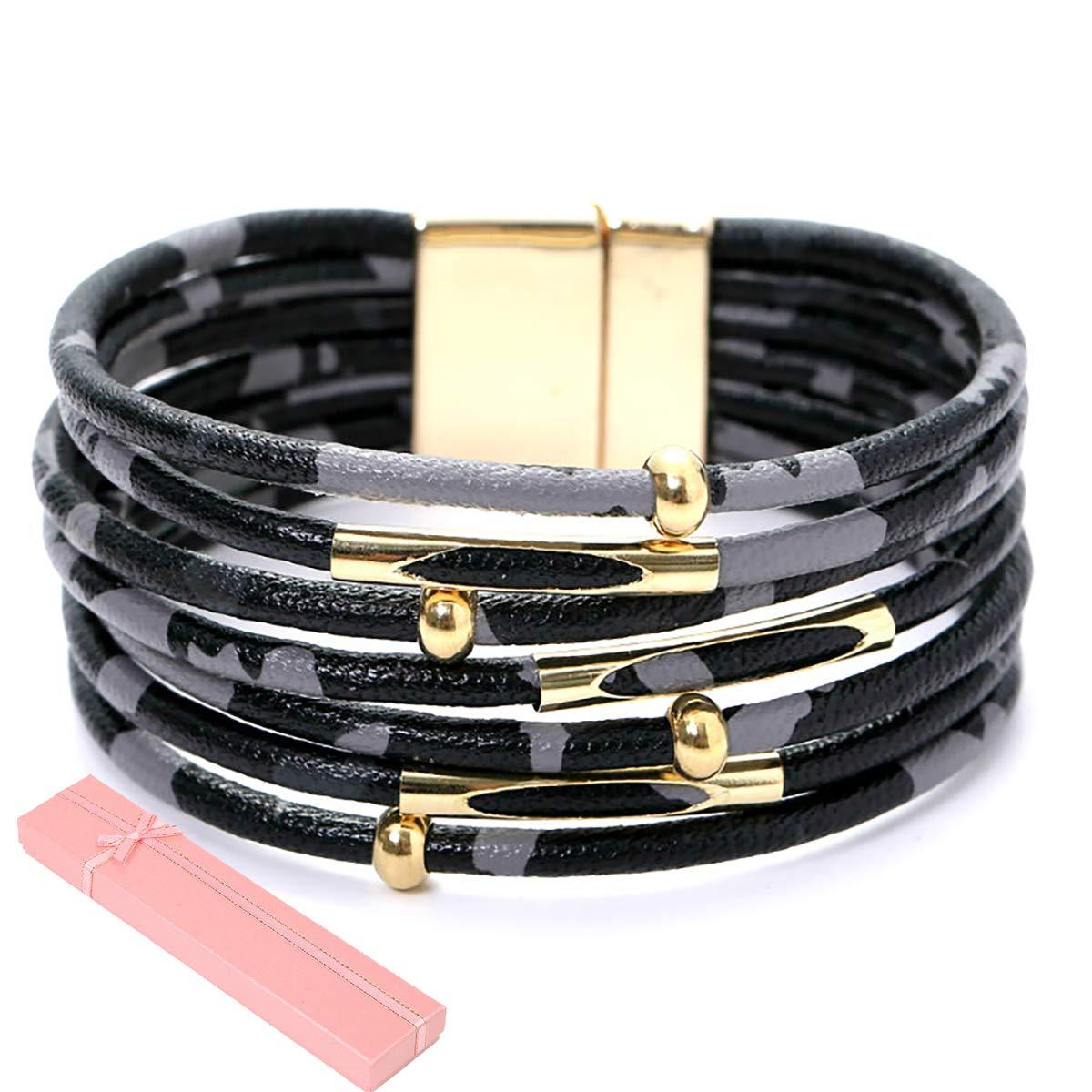 ILJILU Leopard Bracelets for Women Metal Pipe Charm Multilayer Wide Leather Wrap Bracelet