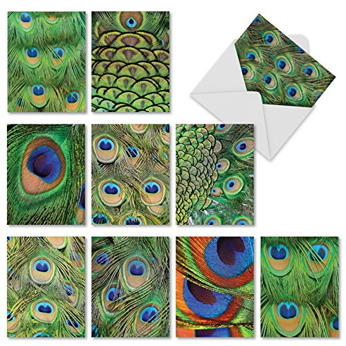 M2003 Fancy Feathers: 10 Assorted Blank All-Occasion Note Cards Feature the Iridescent Blue and Green Plumage of a Peacock, w/White Envelopes.
