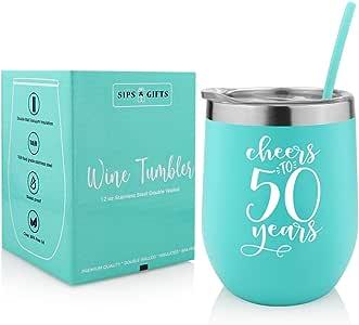 Vaso de vino de viaje con tapa y pajita para adultos, regalo de 50 ...