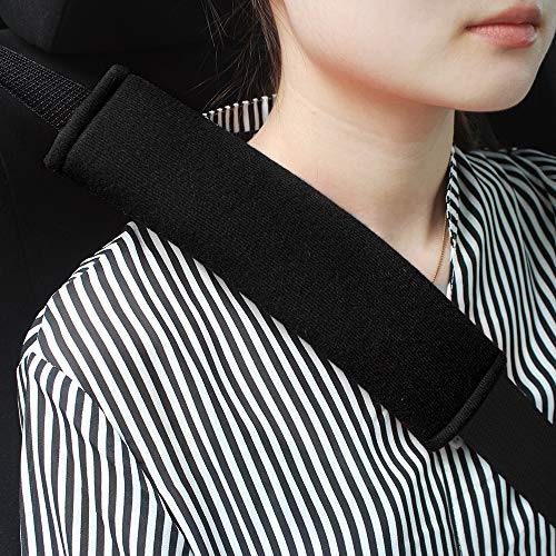GAMPRO Car Seat Belt Pad Cover kit, 2-Pack Black Cotton Soft Car Safety Seat Belt Strap Shoulder Pad for Adults and Children,Useful Shoulder Suitable for Backpack,Shoulder Bag Cover(BLACK)