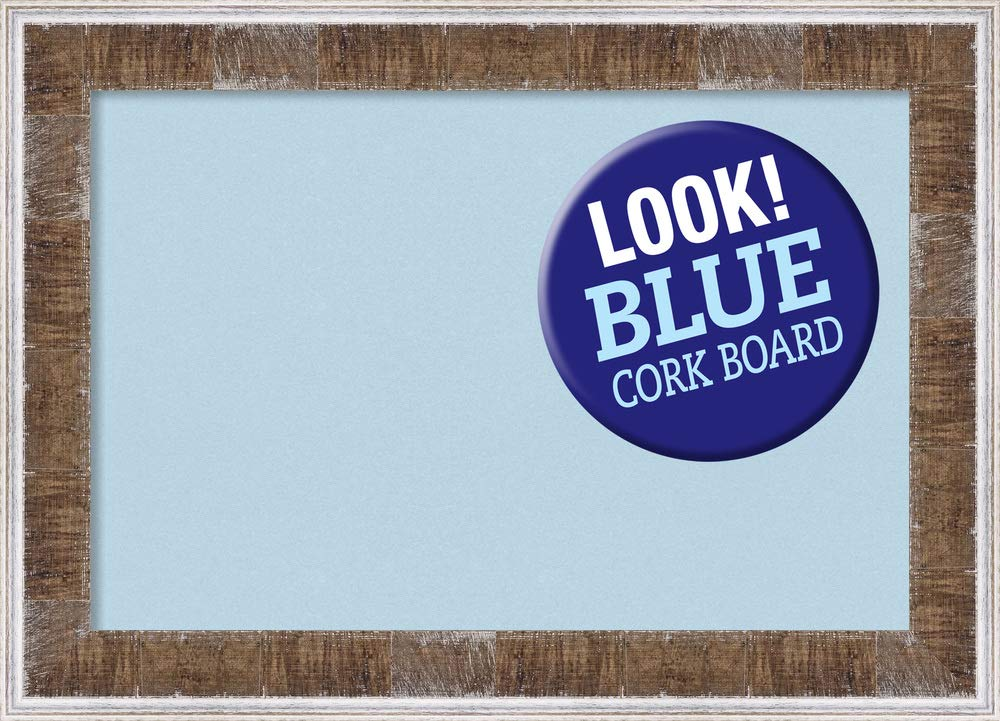 Amanti Art Framed Blue Cork Board Bulletin Board | Blue Cork Boards Farmhouse Brown Narrow Frame | Framed Bulletin Boards | 28.75 x 20.75