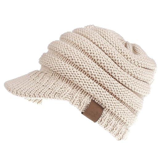 ea84b076264 CCNBHT Women s Weaving Ponytail Hat Warm Knit Messy High Bun Messy Visor  Beanie Cap (Beige