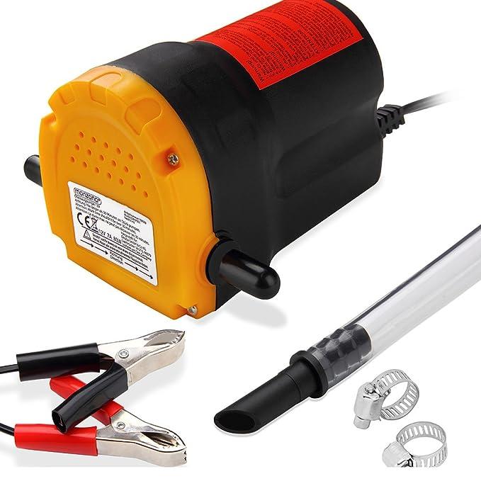 Monzana | Bomba extractora de aceite y diésel | 12V | 80W | Rápido y sencillo | Aceite 1L/min - Diésel 4L/min |: Amazon.es: Coche y moto