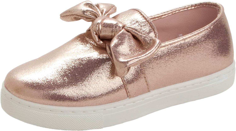 Girls Rose Gold Glitter Slip ON Walking