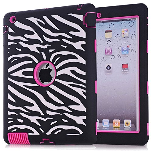 iPad 2 / 3 / 4 Case, Hocase Rugged Shock Absorbent Double Layer Hard Rubber Protective Case Cover with Stylus for Apple iPad 2nd / 3rd / 4th Generation Retina - Zebra Print / Deep Pink - Ipad Air Gel Keyboard Case