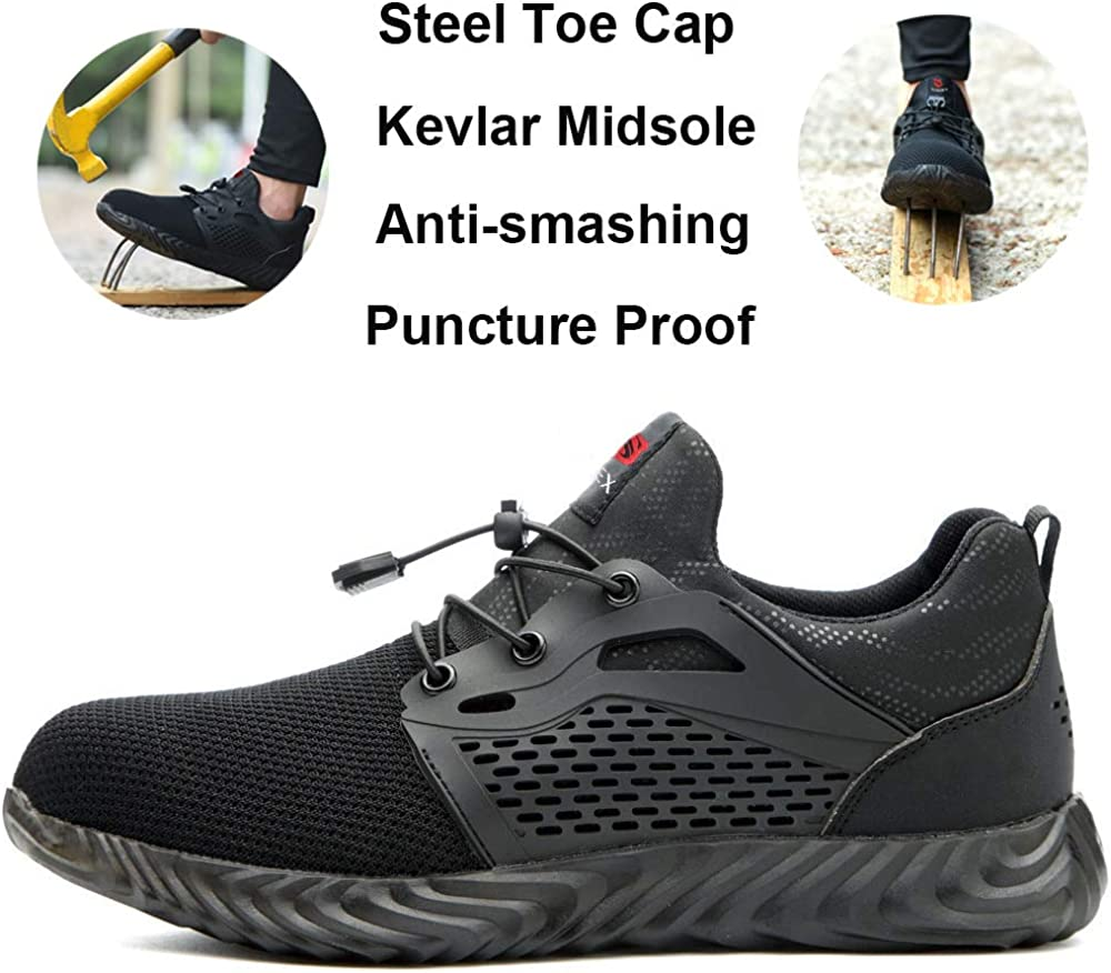 SUADEX Steel Toe Shoes Men Women Indestructible Shoes Safety Shoes Lightweight Construction Steel Toe Sneakers Work Working Shoes