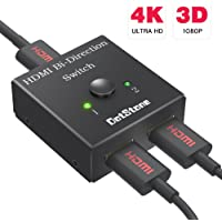 HDMI Switcher 2 Ports Bi-direction Manual Switch 2 x 1 / 1 x 2 HDMI Hub-HDCP Passthrough-Supports Ultra HD 4K 3D 1080P By DotStone