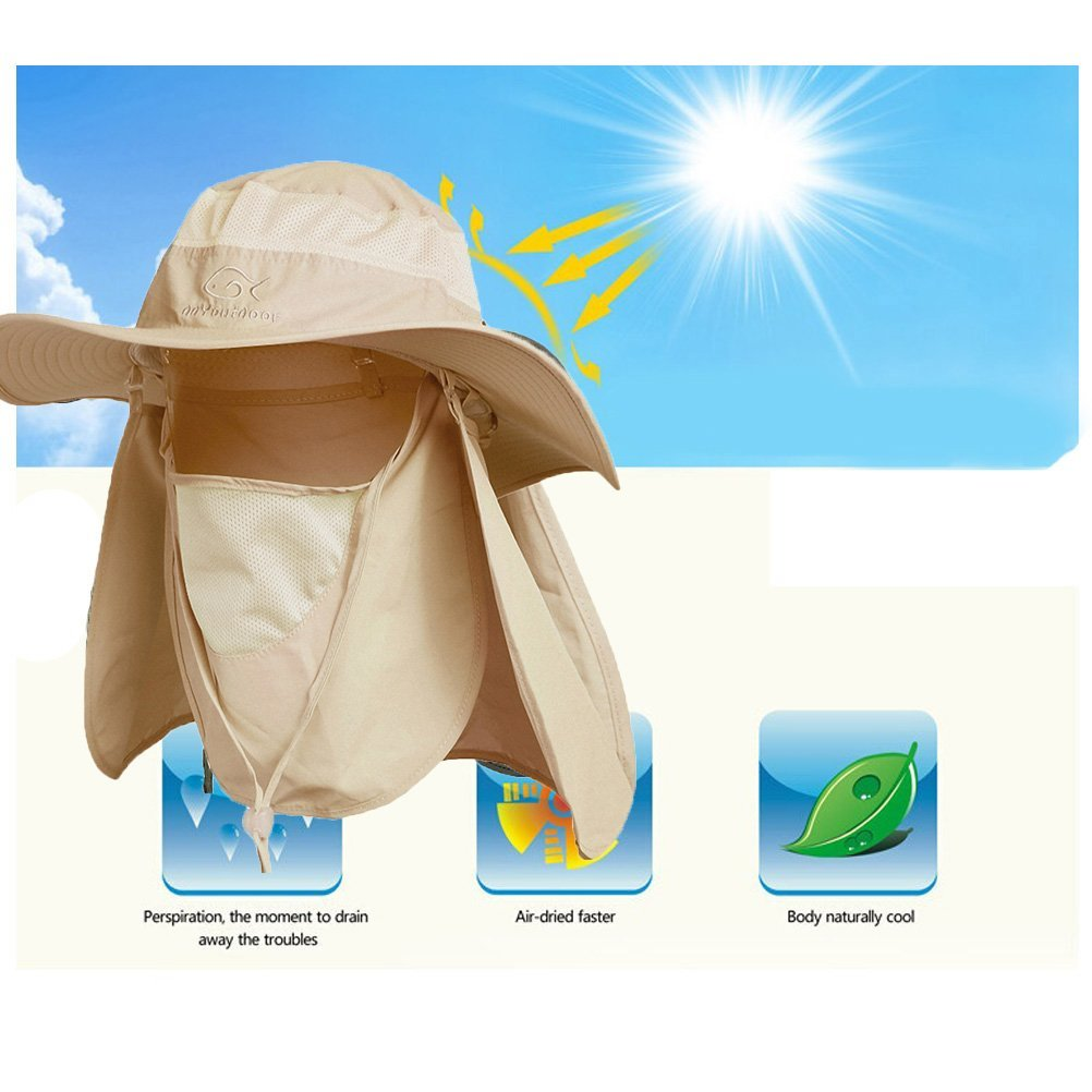 Ddyoutdoor trade; 07-281 Fashion Summer Outdoor Sun Protection Fishing Cap Neck Face Flap Hat Wide Brim (Khaki)