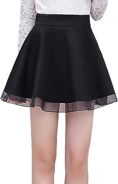 Faldas Cortas Mujer Elástica Cintura Alta Una Línea Swing ...