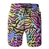 Adults Printed Leopard Pattern Hawaiian Shorts Drawstring Quick Dry Board Shorts