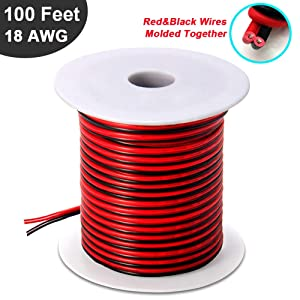 100FT 18 AWG Gauge Electrical Wire, Premium DC 12v Hookup Red Black Copper Stranded Auto 2 Cord, Flexible Extension Cable with Spool for LED Ribbon Lamp Light or Low Voltage Products by MILAPEAK