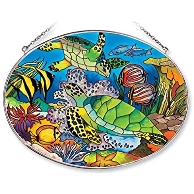Amia Oval Suncatcher with Turtle and Tropical Fish Design, Hand Painted Glass, 6-1/2-Inch by 9-Inch: Home & Kitchen