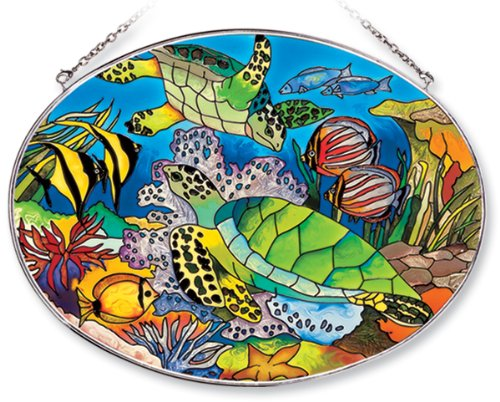 Amia Oval Suncatcher with Turtle and Tropical Fish Design, Hand Painted Glass, 6-1/2-Inch by 9-Inch