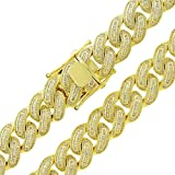 .925 Sterling Silver 16mm CZ Baguette Iced Out Miami Cuban Curb Link Bling Chain Necklace Yellow Gold Plated (28)