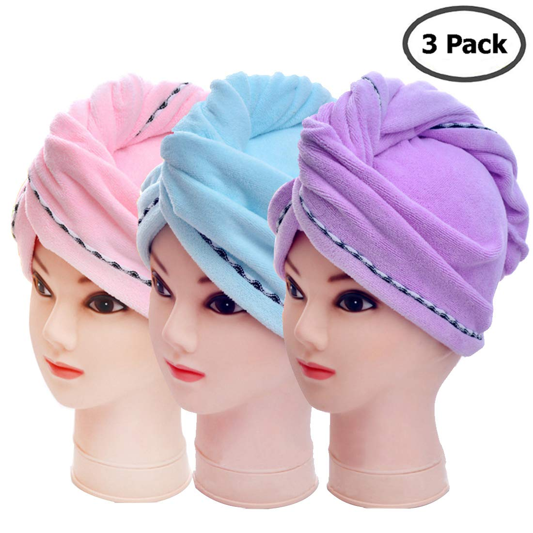 3 Pack Microfiber Hair Towel Wrap BEoffer Super Absorbent Twist Turban Fast Drying Hair Caps with Buttons Bath Loop Fasten Salon Dry Hair Hat Pink Blue Purple by BEoffer