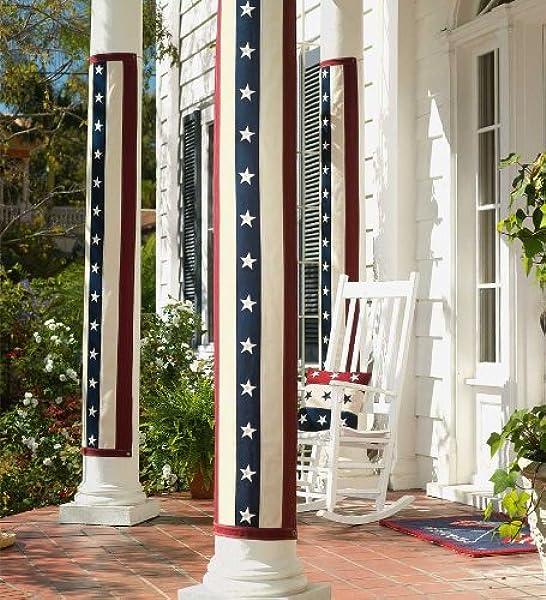 Plow Hearth Vintage Stars And Stripes Cotton Duck Pillar Bunting Outdoor Decor Garden Outdoor Amazon Com