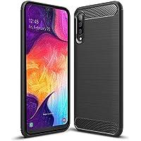 Hianjoo Funda para Samsung Galaxy A50, Silicona TPU Fundas para Samsung Galaxy A50, Anti-choques, Carcasa con Fibra de Carbono - Negro