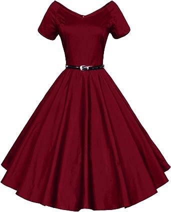 Tecrio Womens Vintage 1950s Floral Flare Deep-V Rockabilly Evening Party Dress
