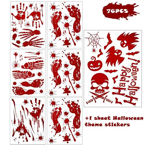 76 Pieces Halloween Bloody Handprint Footprint Decoration Stickers& 1 Sheet Halloween Theme Stickers, Halloween Party Horror Zombie Footprint Wall Window Decals Decorations Supplies, 7