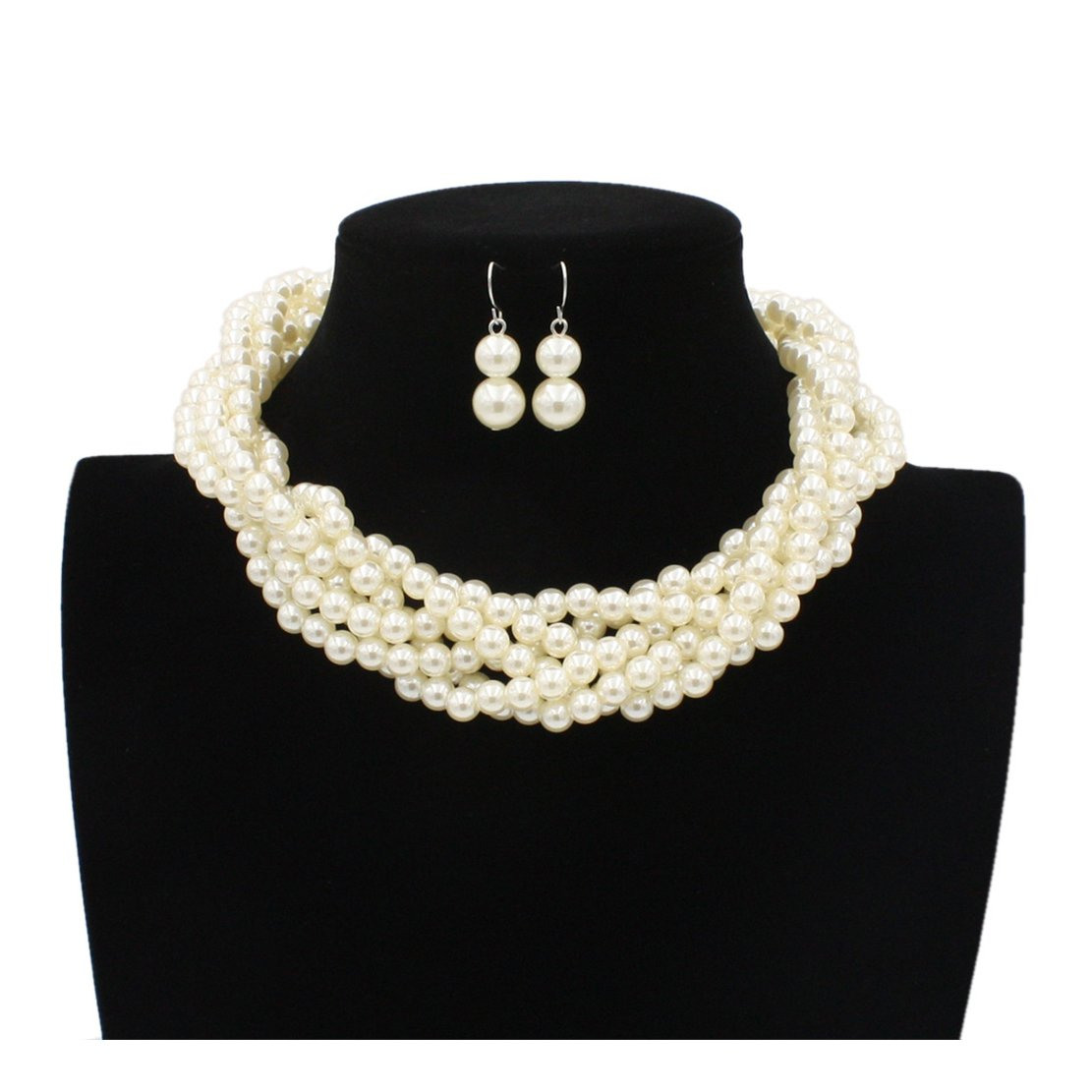 Lanue Multilayer Strand Faux Pearls Beads Cluster Choker Necklace and Earrings Set