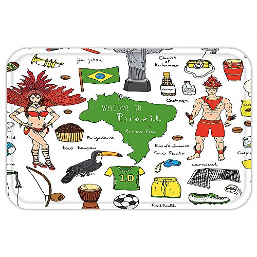 Brazilian Costumes Samba (VROSELV Custom Door MatModern Brazilian SymbolRio Carnival Samba Dancer Flag Christ the Redeemer Statue Print Multicolor)