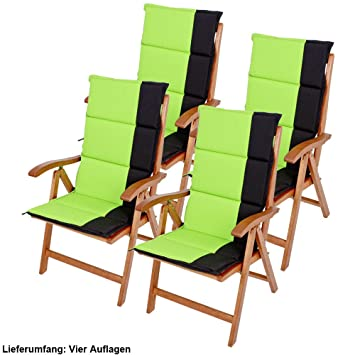 Erstaunlich Etc Shop 4er Set Hochlehner Auflagen Garten Stuhl Sitz Kissen Liege Polster  Polyester Gruen Schwarz