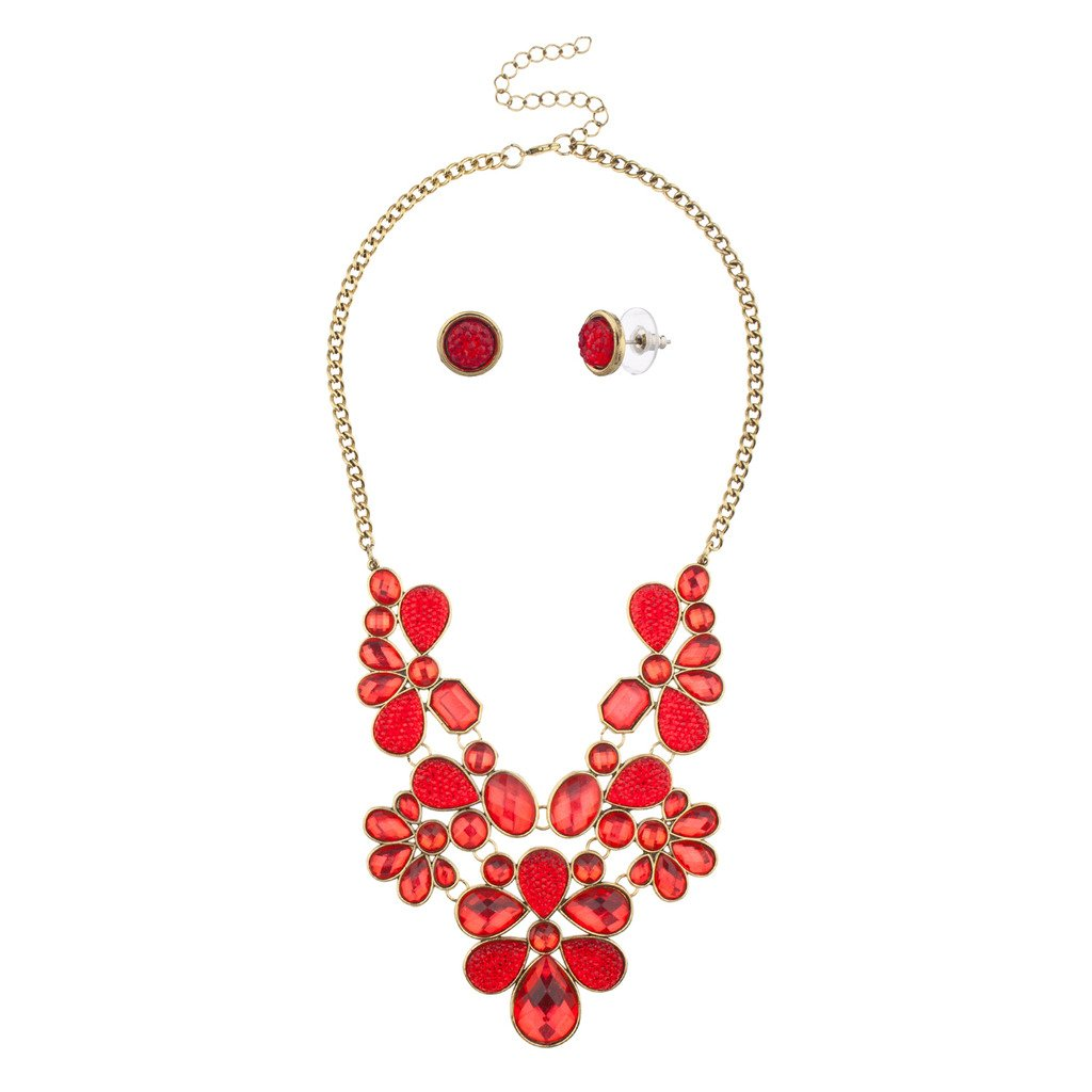 Lux Accessories Floral Flower Red Stone Statement Necklace Matching Earrings