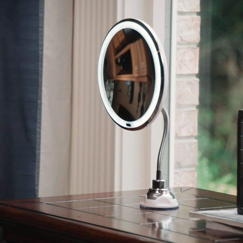 Plata 10X JohnJohnsen Espejo de Aumento de Cuello de Cisne de 7 Pulgadas Maquillaje Ronda Espejo de ba/ño para el hogar Ba/ño Uso con ventosas Extra Fuertes